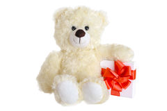 Teddy bear with present box Royalty Free Stock Images