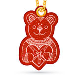 Teddy bear with present. Label tag hanging on Stock Photo