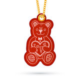 Teddy bear with present. Label tag hanging on. Label tag hanging on golden chain. Red design element  on white. Vector illustration Royalty Free Stock Images