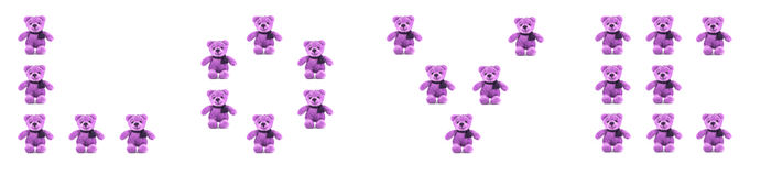 TEDDY BEAR purple color with LOVE Royalty Free Stock Photo