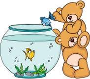 Teddy bear put a blue fish in a aquarium. Scalable vectorial image representing a teddy bear put a blue fish in a aquarium, isolated on white Stock Photos