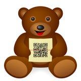Teddy bear QR code Royalty Free Stock Photos