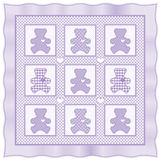 Teddy Bear Quilt, Lavender Royalty Free Stock Photo