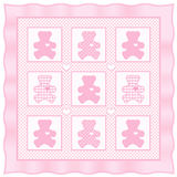 Teddy Bear Quilt, Pastel Baby Pink. Classic quilt pattern for babies or dolls. Cute teddy bears with big hearts in pastel pink with gingham and polka dots Stock Photos
