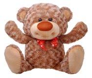 Teddy bear raising arms. Isolated on white Stock Photo