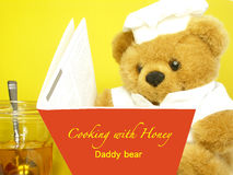 Teddy bear is reading. Teddy bear is looking for recipes using honey royalty free stock photography