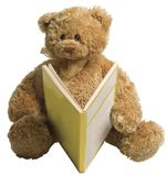 Teddy bear reading. Small teddy bear reading a yellow book Royalty Free Stock Images