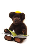 Teddy Bear Reading a Book. Cute brown teddy bear with glasses sits and reads a book.  White background Stock Images