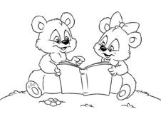 Teddy bear reading book  coloring pages. Teddy bear reading book animal coloring pages stock illustration