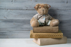 Teddy bear in reading glasses sitting on the stack of old books. Wooden background Royalty Free Stock Images