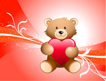 Teddy Bear and Red Background Stock Photos