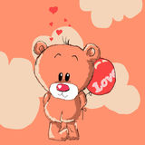 Teddy bear with red balloon. Teddy bear with red balloon Stock Images
