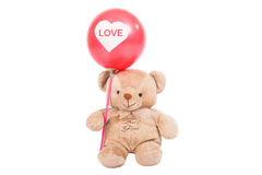 Teddy bear with red balloon Royalty Free Stock Image