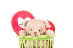 Teddy bear with red balloon Royalty Free Stock Photography