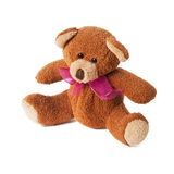 Teddy bear with red bow. Isolated on white background Royalty Free Stock Photography