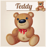 Teddy bear with red bow Stock Images
