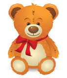 Teddy Bear with Red Bow Royalty Free Stock Image