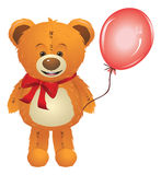 Teddy Bear with Red Bow Stock Photography
