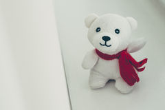 Teddy bear with red bow decoration Stock Photo