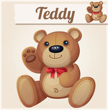 Teddy bear with red bow waves the paw Royalty Free Stock Photos