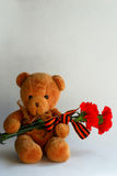 Teddy bear with red carnations and St George ribbon Stock Images