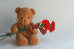 Teddy bear with red carnations and St George ribbon Royalty Free Stock Photography