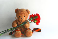 Teddy bear with red carnations and St George ribbon Royalty Free Stock Photos