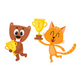 Teddy bear and red characters, champions holding golden winner cups Stock Image