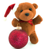 Teddy bear with red  Christmas balls /Christmas/Teddy. Teddy bear with red  Christmas ball /Christmas/Teddy isolated on white Stock Image