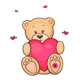Teddy bear with red heart. Hand drawn illustration of cute teddy bear with red heart Stock Photos