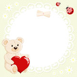 Teddy bear with red heart Royalty Free Stock Images