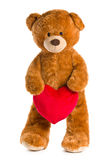 Teddy bear with red heart Stock Image