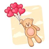 Teddy bear with red heart balloons Stock Photos