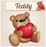 Teddy bear with red heart Royalty Free Stock Photography