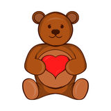 Teddy bear with red heart icon, cartoon style Royalty Free Stock Image