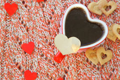 Teddy bear with red heart and red rose Stock Image