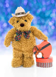 Teddy bear with Red heart shaped gift box Stock Photography