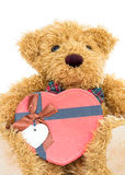 Teddy bear with Red heart shaped gift box Royalty Free Stock Photo
