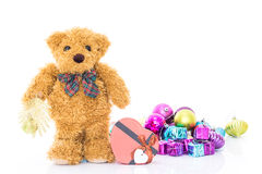 Teddy bear with Red heart shaped gift box Royalty Free Stock Photos