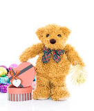 Teddy bear with Red heart shaped gift box Stock Photos