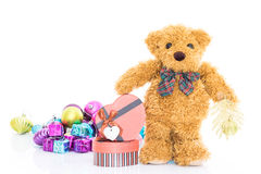 Teddy bear with Red heart shaped gift box Royalty Free Stock Image