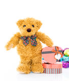 Teddy bear with Red heart shaped gift box Stock Images