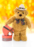 Teddy bear with Red heart shaped gift box Royalty Free Stock Photography