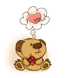 Teddy  bear. With red  heart. Valentine card. Vector illustration Stock Photo