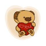 Teddy  bear. With red  heart. Valentine card. Vector illustration Stock Photos