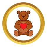 Teddy bear with red heart vector icon Stock Image