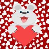 Teddy bear with red heart. Royalty Free Stock Photography