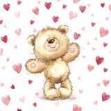 Teddy bear with  red hearts.Valentines greeting card. Love design.Love. Stock Photos
