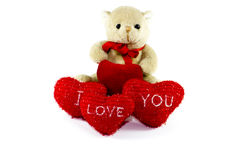 Teddy Bear with Red Hearts Royalty Free Stock Image