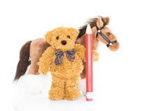 Teddy bear with red pencil and horses Stock Photos